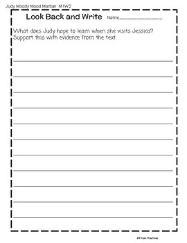 Written Response Prompts -using evidence in text using HMH stories