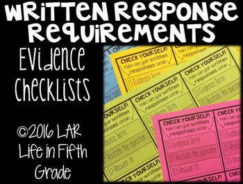Written Response Requirements Evidence Checklists