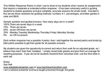Written Response Rubric