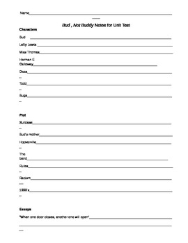 Written Response Study Guide for Bud, Not Buddy