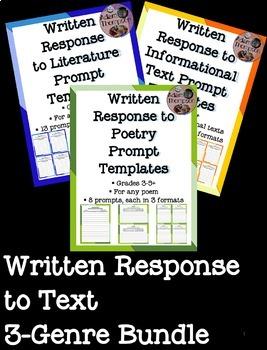 Written Response to Text Prompt Templates (3-Genre Bundle)