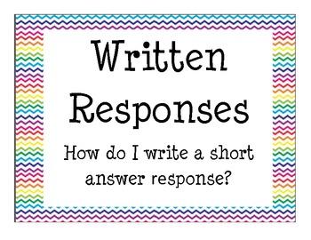 Written Responses Poster Set Guide Short Answer Responses PARCC Test Prep