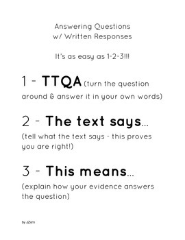 Written Responses as easy as 1-2-3! Meets CCSS