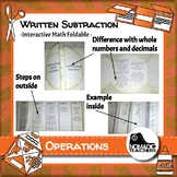 Written Subtraction Method interactive notebook math foldable