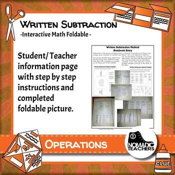 Written Subtraction Method interactive notebook math foldable