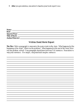 Written and Oral Book/Movie Report