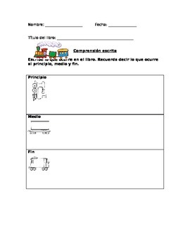 Written comprehension sheet Beginning-Middle-End in Spanish