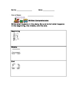 Written comprehension sheet Beginning-Middle-End in English