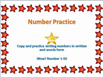 Written number practice 1-50: number and word form!