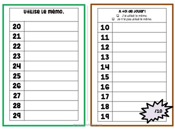 Written numbers 0-50 - French Substitute or Workstation material