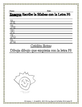 Writting Spanish: Syllables With Letter F
