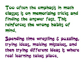 Wrong emphasis in math classes