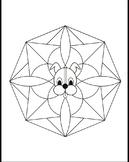 Wuf Shanti, Yoga Dog for Kids, Mandala Coloring Page