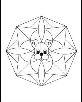 Wuf Shanti Yoga Dog For Kids Mandala Coloring Page Tpt