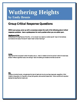 Wuthering Heights - Bronte - Group Critical Response Questions