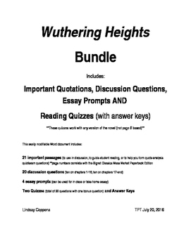 Wuthering Heights Bundle! (quotes, discussion questions, essay prompts, quizzes)