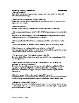 wuthering heights chapter questions 1 2 3 by the english teacher s pet rh teacherspayteachers com Worksheets with Answer Keys Respiratory System Worksheet Answer Key