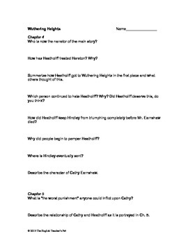 wuthering heights chapter questions and answer keys tpt rh teacherspayteachers com 7.2 Study Guide Worksheets with Answer Keys