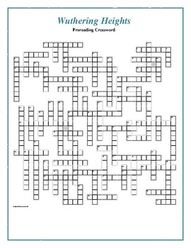 Wuthering Heights 50 Word Prereading Crossword Great Warm Up For The Book