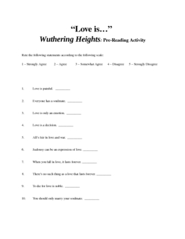 Wuthering Heights Prereading activity