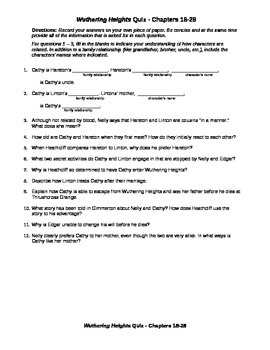 Wuthering Heights Quiz Chapters 18-28