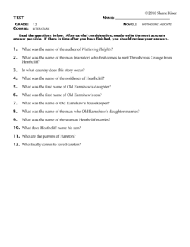 Wuthering Heights Test Questions