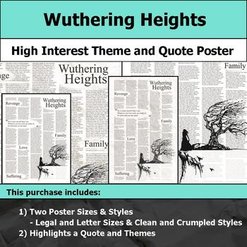 Wuthering Heights - Visual Theme and Quote Poster for Bulletin Boards