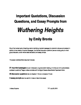Wuthering heights quotes discussion questions essay prompts tpt