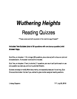 Wuthering Heights reading quiz (2 quizzes, cover whole novel)