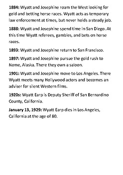 Wyatt Earp Timeline and Quotes Handout