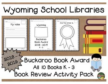 Wyoming Buckaroo K - 3 Book Award 2018 - 2019  Book Review Activity Pack