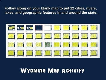 Wyoming Map Activity- fun, engaging, follow-along 20-slide PPT