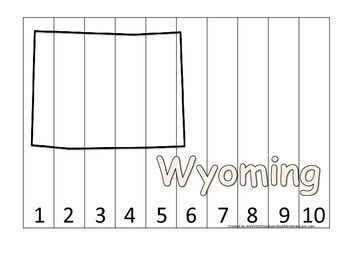 Wyoming Number Sequence Puzzle.  Learn the States preschool printable game.
