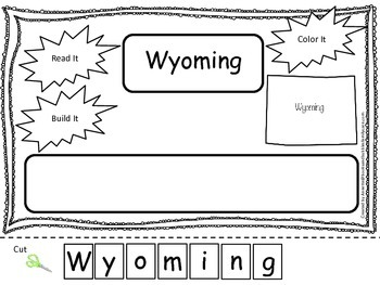 Wyoming Read it, Build it, Color it Learn the States preschool worksheet.