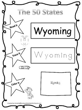 Wyoming Read it, Trace it, Color it Learn the States preschool worksheeet