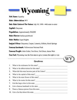 Wyoming State Information & Worksheet