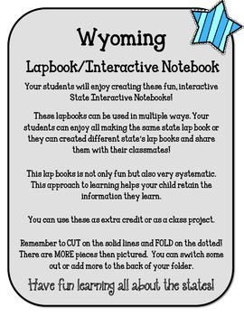 Wyoming State Lapbook. Interactive Notebook. US History and Geography