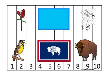 Wyoming State Symbols themed 1-10 Number Sequence Puzzle Preschool Game.