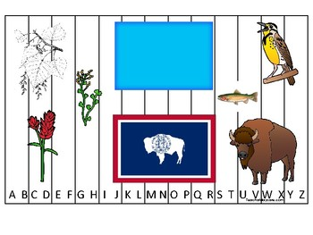 Wyoming State Symbols themed Alphabet Sequence Puzzle Preschool Phonics Game.
