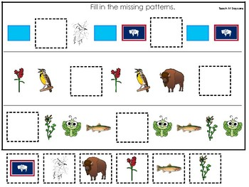 Wyoming State Symbols themed Fill In the Missing Pattern Preschool Math Game.