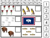 Wyoming State Symbols themed Match the Number Preschool Math Counting Game.