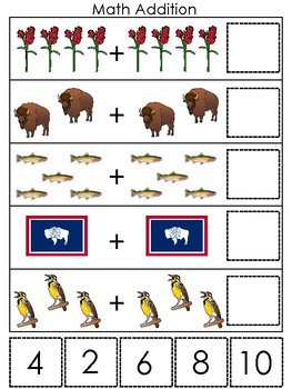 Wyoming State Symbols themed Math Addition Preshool Learning Math Game.