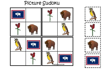 Wyoming State Symbols themed Picture Sudoku Preschool Learning Math Game.