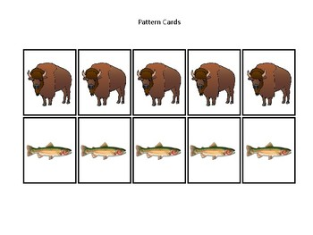 Wyoming State Symbols themed Preschool Pattern Cards and Game Board.