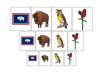 Wyoming State Symbols themed Size Sorting Printable Preschool Math Game.