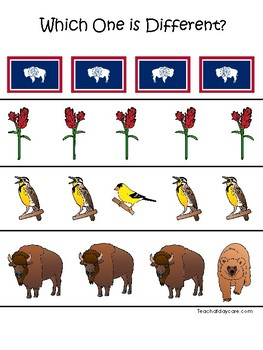 Wyoming State Symbols themed Which One is Different Preschool Math Game.