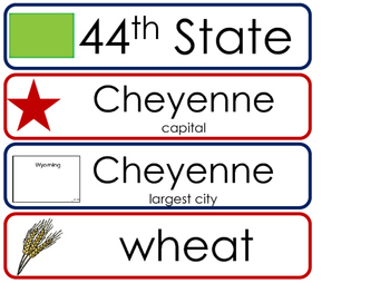 Wyoming State Word Wall Bulletin Board Set. Geography Curriculum.