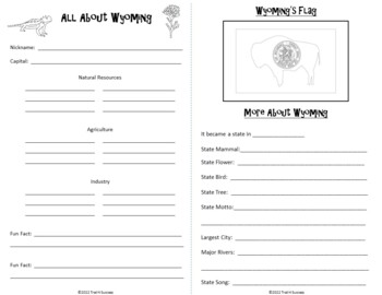 Wyoming Webquest Common Core Research Activity Mini Book