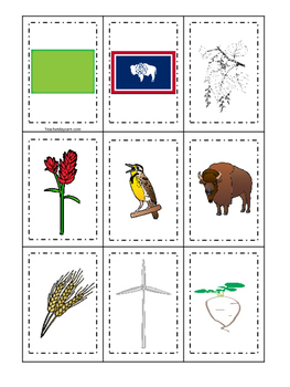 Wyoming themed Memory Matching and Word Matching preschool