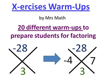 X-ERCISES: Warm-Ups for Practicing Operations with Negatives (Mrs Math)